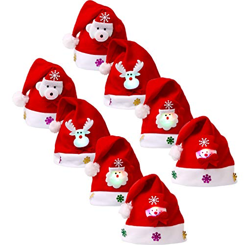 (Sumind 8 Pieces Christmas Hats LED Santa Hat Santa Claus Hat for Christmas Party Favors (Kids)