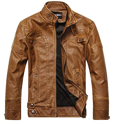 WULFUL Men's Vintage Stand Collar Leather Jacket Motorcycle PU Jacket and - Leather Vintage Faux