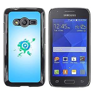 FECELL CITY // Duro Aluminio Pegatina PC Caso decorativo Funda Carcasa de Protección para Samsung Galaxy Ace 4 G313 SM-G313F // Bullseye Target Green Blue