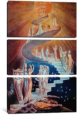 iCanvasART 3 Piezas Lienzo de Escalera de Jacob por William Blake, 0,75 x 40 x 152,4 cm: Amazon.es: Hogar