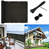 Balcony Privacy Screen Cover Weather-Resistant Black UV Protection Balcony Shield Cover with Cable Ties & Ropes