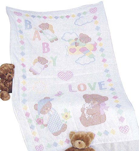 Jack Dempsey Stamped White Quilt Crib Top, 40-Inch by 60-Inch, Baby Love Bears