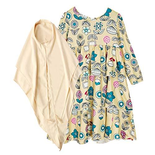 Dubai Islamic Dress, Hstore Children Girls Muslim Dress Long Sleeves Skit Kids Long Dress Khaki ()