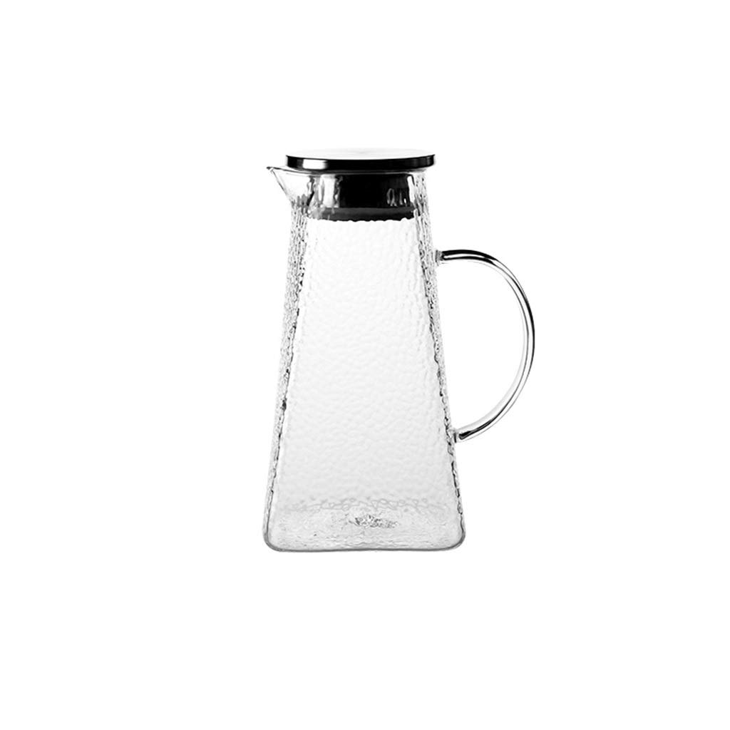 Kettle hammer pattern transparent glass large capacity teapot heat-resistant cold kettle home cool open kettle CHAJU (Size : 1.8l) by CHAJU