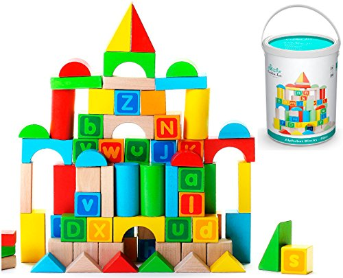 Top Alphabet Wooden Building Blocks Set with Case - Brightly Colored Educational 80 pc Stacking Block Set for Toddlers & Kids Age 3 & 4 Old - Made from Durable Beech & Juniper Wood Pieces