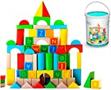 Alphabet Wooden Building Blocks Set with Case - Brightly Colored Educational 80 pc Stacking Block Set for Toddlers & Kids Age 3 & 4 Old - Made from Durable Beech & Juniper Wood Pieces