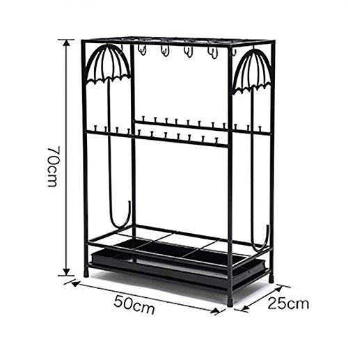 DNSJB Hotel Lobby Iron Umbrella Stand with Hooks/Drip Tray European Household Canes/Walking Stick Stand Storage Holder Rack Personality Creative Long/Short Umbrella Stands Storage Shelf,502570cm by DNSJB umbrella stand (Image #2)