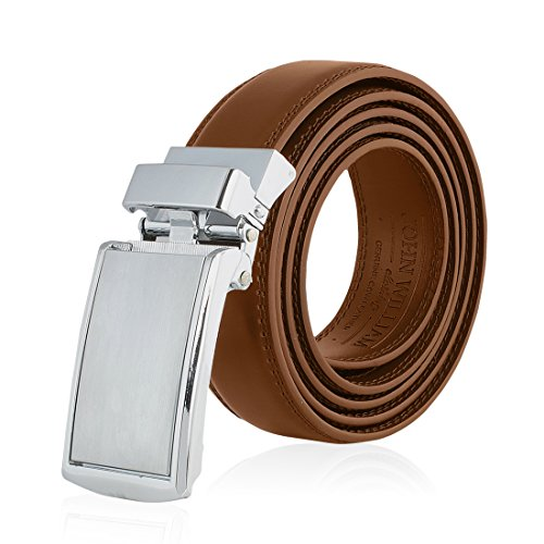 Men's Genuine Leather Ratchet Belt: Stainless Steel Buckle Dress Belts for Business, Formal & Casual Wear - Tan
