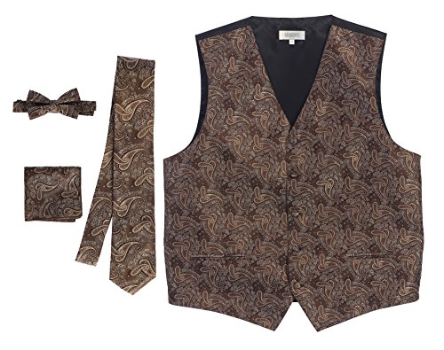 Gioberti Men's Formal 4pc Paisley Vest Necktie Bowtie and Pocket Square, Khaki, Small