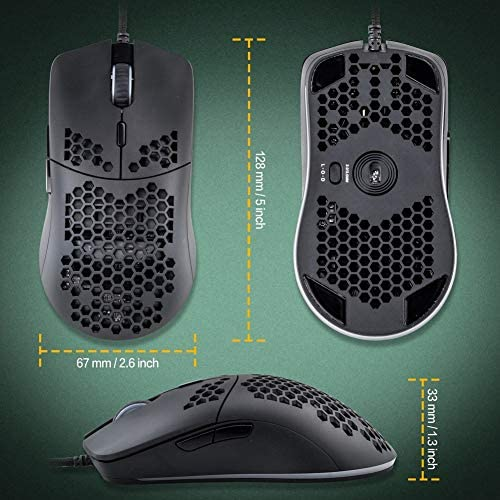 Snpurdiri S1 Pro RGB Lightweight Gaming Mouse PMW3360 12000 DPI Optical Sensor with Lightweight Honeycomb Shell Ultralight Ultraweave Cable(65G) 51lxbZNi9LL