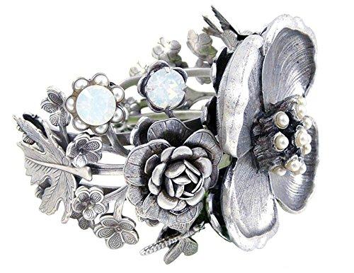 Botanical Grandeur Dogwood Flower Bracelet: Pewter, Mabe-Cultured Pearl, Swarovski Crystal ()