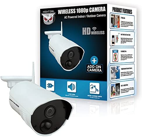 Night Owl Security Add-on Indoor/Outdoor Wireless 1080p AC Powered Camera, White (CAM-WNR2P-OU) 51lxbtiPxFL