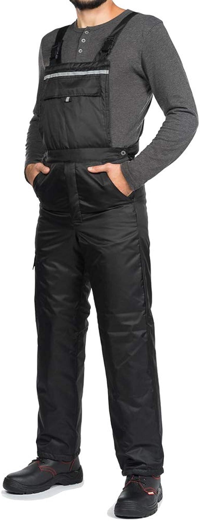 Pantaloni da Lavoro Inverno A Prova di Vento Caldo Bande Riflettenti Salopette da Lavoro Uomo Inverno Nero Impermeabile