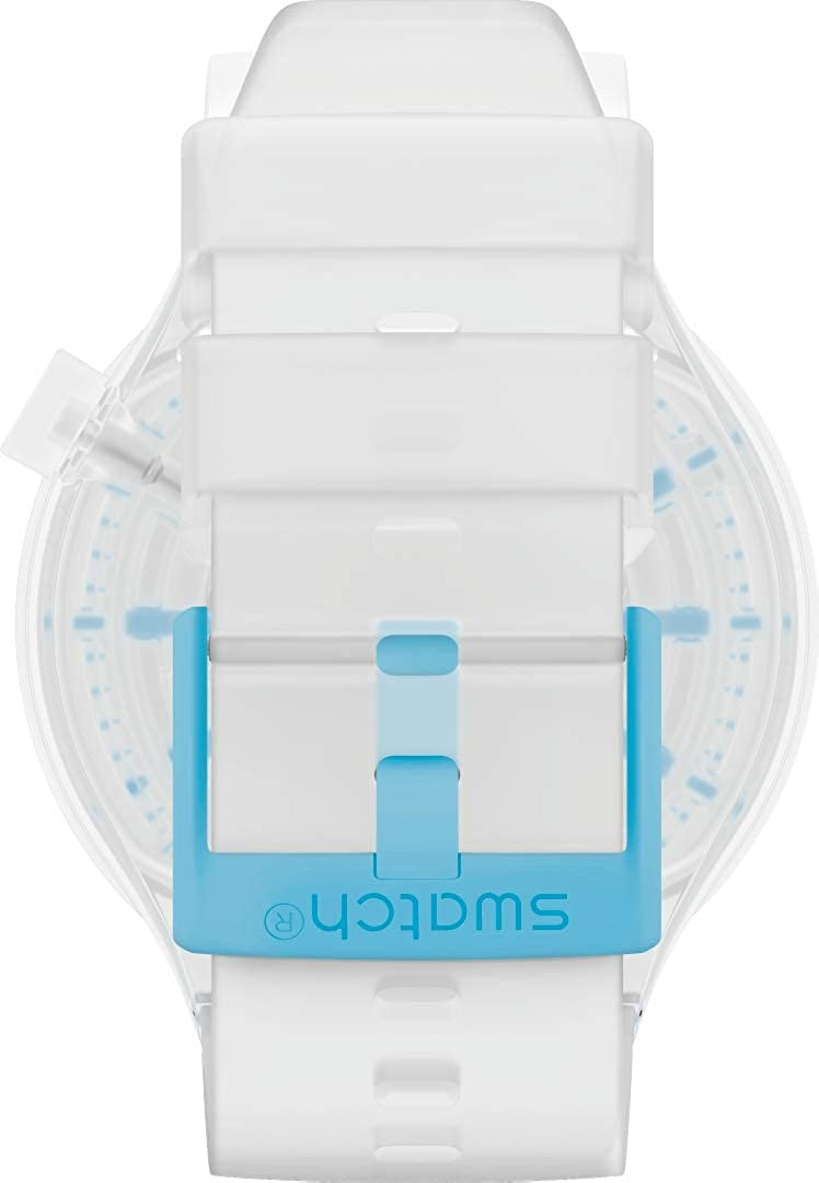 Swatch Swiss Quartz Silicone Strap, Transparent Neon Blue