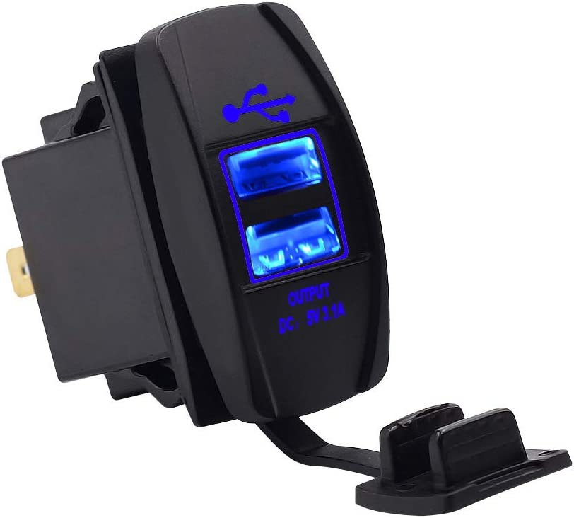 elegantstunning 12-24V Dual USB Charger with 60cm Wire Line Boat Type Blue LED Waterproof for Motorcycle Car