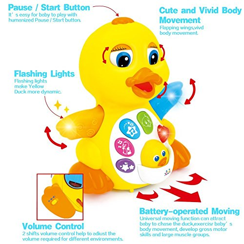 Toyk Kids Toys Musical Duck Toy Lights Action with Adjustable Sound - Toys for 1 2 3 Year Girls and Boys Kids or Toddlers by Toyk (Image #1)