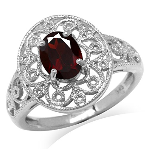 1.36ct. Natural Garnet White Gold Plated 925 Sterling Silver Victorian Style Filigree Ring Size 7 ()