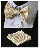 HISDERN Men's Check Jacquard Woven Wedding Party Self Bow Tie Set,Yellow,One Size