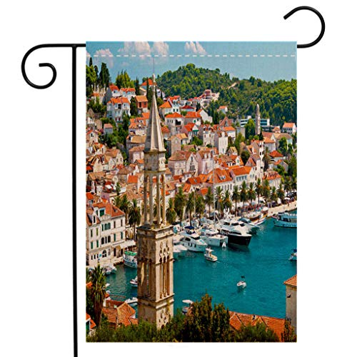 Harbor Town Golf - BEIVIVI Custom Double Sided Seasonal Garden Flag Amazing Town of Hvar Harbor Garden Flag Waterproof for Party Holiday Home Garden Decor
