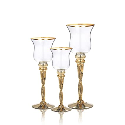 Beautiful Amazon.com: Set of 3 Hurricanes - Gold Trimmed Clear Glass Candle  FI27