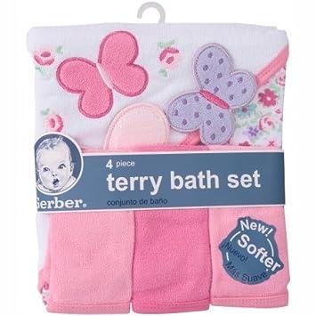 853d32cf65cb Amazon.com : Gerber Newborn Baby Girl Towel and Washcloths Bath Gift Set,  4-Piece : Baby