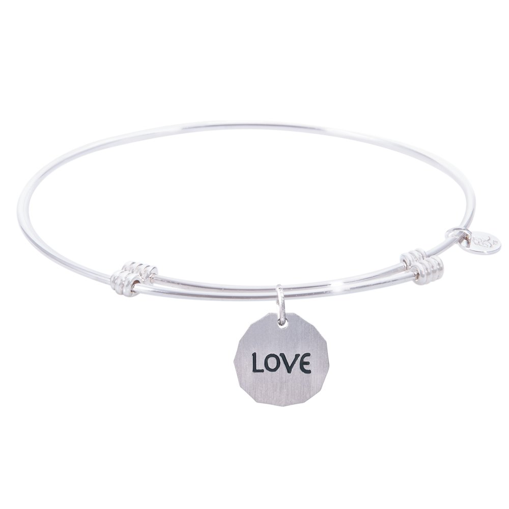 Rembrandt Charms, Love and Tranquil Bangle Bracelet, .925 Sterling Silver