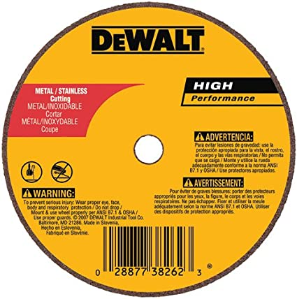 DEWALT DW8020R3 14 x 1//8 x 1 3F Aluminum Oxide A24R High Speed Metal Cutting Wheel