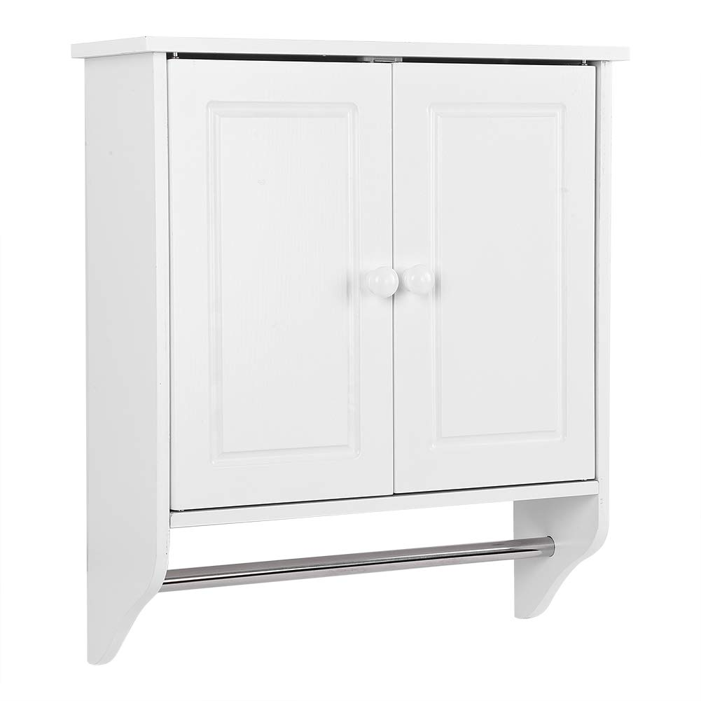Cocoarm Bathroom Wooden Storage Cabinet, Wall Mount Clothes Storage Cabinet with Double Door for Bathroom Kitchen Laundry, 18.89'' L x 6.29'' W x 21.65'' H White