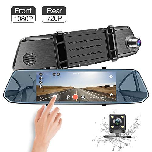 Mirror Dash Cam, 7 [1080P Front + 720P Rear View] Full HD Dual Lens Dashboard Camera Car Video Recorder G-Sensor, Parking Assistance, Loop Recording