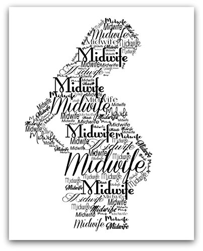 Art Print Pregnant Silhouette with the word Midwife, 4x6, 5x7, 8 x 10, or 11x14