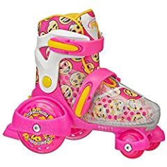 Get low with the fun get low with the fun roll. This youth quad skate features a low center of Gravity that is safe and great for beginners! the Flower design accents on the boot will get your child in the mood to have fun! Roller Derby skate...