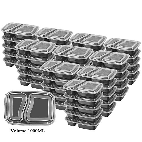 50 SZUAH Meal Prep Containers - Bento Lunch Boxes with Lids - 2 Compartment Food Containers, BPA Free, Stackable & Reusable, Dishwasher/Microwave/Freezer Safe - 34 oz … … by SZUAH (Image #7)