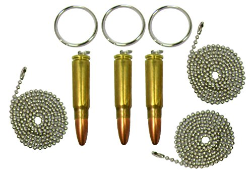 Set of Three Bullet Key Rings, Dogtag Necklace, or Pendants, 7.62 Russian Ak-47