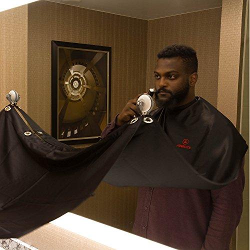Beard Bib Kit (9pcs) – Shaving/Grooming Cape w/Strong Suction Cups, Beard Trimming Shaping Tool, Beard/Mustache Scissors, Sandalwood Beard Comb – Beard Trimmer Apron – Hair Catcher for Sink (Black)