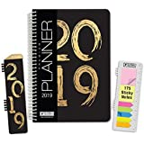 "HARDCOVER Calendar Year 2019 Planner: (November 2018 Through December 2019) 5.5""x8"" Daily Weekly Monthly Planner Yearly Agenda. Bonus Bookmark, Pocket Folder and Sticky Note Set (Black/Gold 2019)"