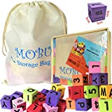 MOBU Foam Building Blocks 30 Pcs Spelling Alphabet Blocks with an Reusable Storage Bag Soft Learning Alphabet Letters (ABC) Numbers Blocks (123) for Kids Toddlers Playing Indoor Outdoor Bathroom