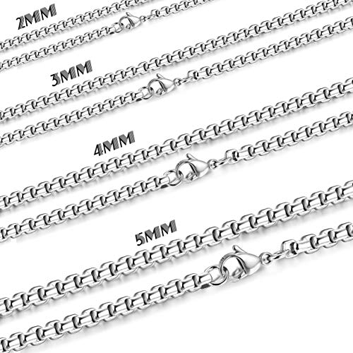 Besteel Womens Mens Stainless Steel Rolo Cable Wheat Chain Link Necklace 16-36 Inch