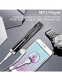 Grabadora activada por voz digital de 16 GB para clases   Grabadora de sonido Grabadora de audio Dispositivo de grabación de voz con reproducción para reuniones Clases Entrevistas (Negro)