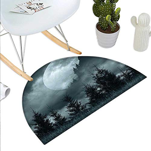 Anniutwo Halloween Half Round Door mat Magic Castle Silhouette Over Full Moon Night Fantasy Landscape Scary Forest Half Round Indoor Door mat Grey Pale Grey ()