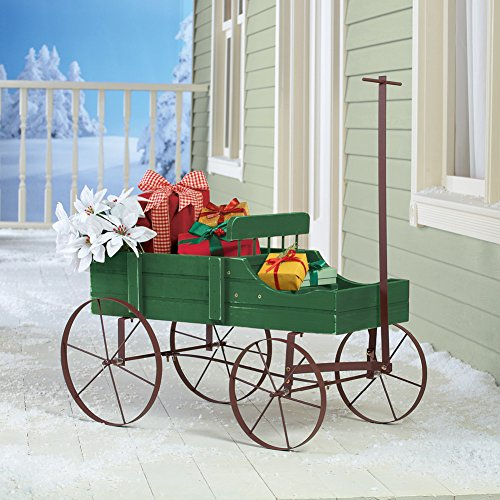 Collections Etc Amish Wagon Decorative Indoor/Outdoor Garden Backyard Planter, Green by Collections Etc (Image #2)