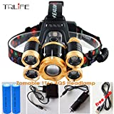 Best Quality - Headlamps - Headlamp 5LED T6 Headlight 20000 Lumens LED Headlamp Rechargeable Fishing Light Outdoor Lighting+Battery+Charger - by SINAM - 1 PCs