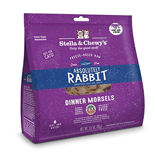 Stella & Chewy's Freeze-Dried Raw Absolutely Rabbit Dinner Morsels Grain-Free Cat Food, 3.5 oz bag