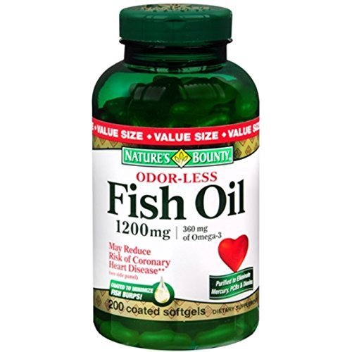 Nature's Bounty Omega-3 Fish Oil 1200 mg Softgels, Odorless 200 ea (pack of 6) by Nature's Bounty