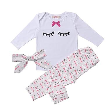 d666ebf1873f3 Yilaku Bébé Fille Vêtements Ensembles Pantalons et Haut Mignonne cil Blanc  3 Mois