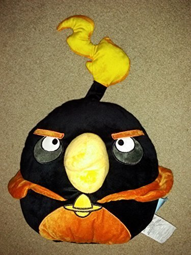 rovio Black Bird, Angry Birds Space Potbellie Character Accent Pillow (Angry Birds Space Orange Bird Plush Toy)