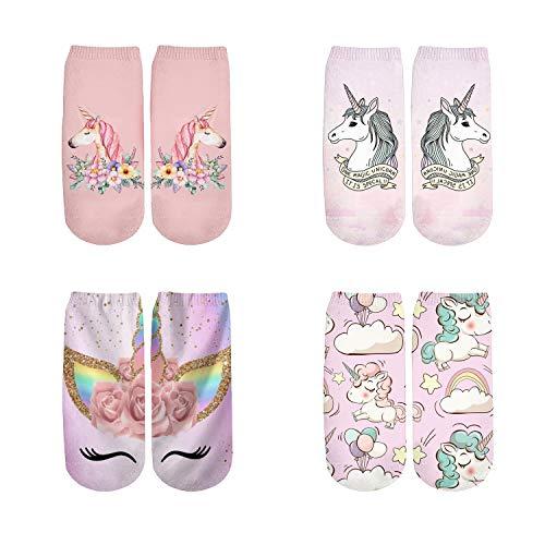 (PLstar Cosmos Harajuku 3D Print Unicorn Socks Women Kawaii Ankle sock Cute Emoji Art Socks (DJS))