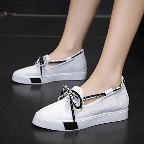 ❤️❤️ Chaussures Pantoufles Confortables Femme Mode Été Chaussures Toile up Blanc de Casual Pionted Plat Orteil JIANGfu Lacet Sandales Flats wI4dWqIT