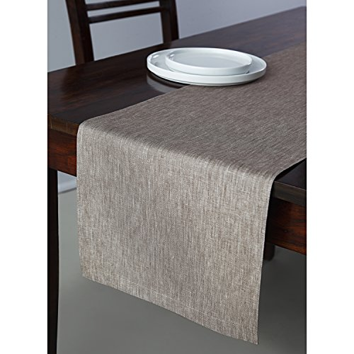Solino Home 100% Pure Linen Table Runner Tesoro, 14 x 60 Inch Flax, Natural Fabric and Handcrafted