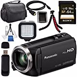 Panasonic HC-V180K Full HD Camcorder (Black) HC-V180K + Sony 64GB SDXC Card + Lens Cleaning Kit + Tripod + Carrying Case + Memory Card Wallet + Card Reader + Mini HDMI Cable + LED Light Bundle