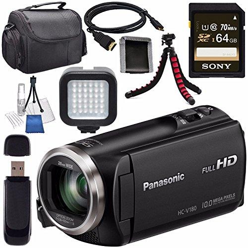 Panasonic HC-V180K Full HD Camcorder (Black) HC-V180K + Sony 64GB SDXC Card + Lens Cleaning Kit + Tripod + Carrying Case + Memory Card Wallet + Card Reader + Mini HDMI Cable + LED Light Bundle